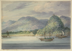 Budgerows and a two masted boat in the foreground, rounded and densely wooded Rajmahal hills beyond, with a pir's tomb on the top of a knoll at the opening to the Sakrigali Pass